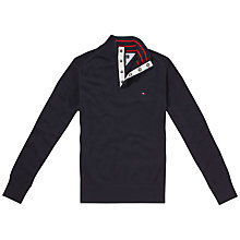 Buy Tommy Hilfiger Atlantic Button-Neck Jumper, Midnight Blue Online at johnlewis.com