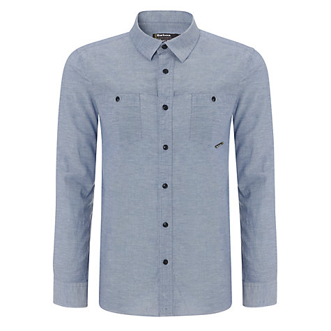 Buy Barbour Calver Cotton Shirt, Blue Online at johnlewis.com
