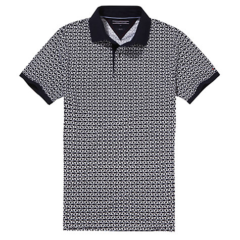 Buy Tommy Hilfiger Geometric Print Polo Shirt, Navy/White Online at johnlewis.com