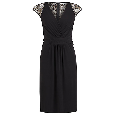 Buy Kaliko Lace Detail Wrap Dress, Black Online at johnlewis.com