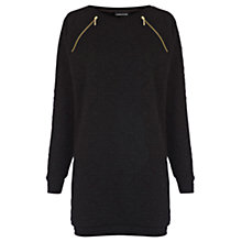 Buy Warehouse Jaquard Zip Yoke Jumper Dress, Black Online at johnlewis.com