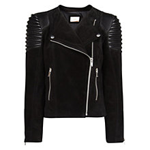Buy Mango Quilt Panel Suede Jacket, Black Online at johnlewis.com