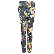 Buy Mango Contrast Trim Floral Trousers, Black Online at johnlewis.com