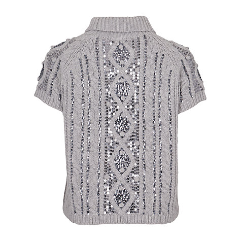 Buy French Connection Sequin High Neck Jumper, Silver Online at johnlewis.com