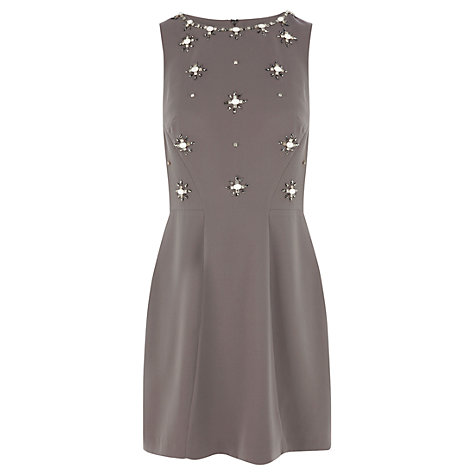 Buy Warehouse Daisy Jewel Dress, Neutrals Online at johnlewis.com