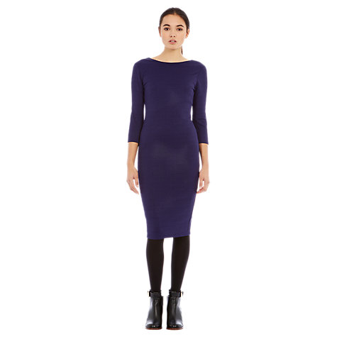 Buy Warehouse Bodycon Midi Dress, Purple Online at johnlewis.com