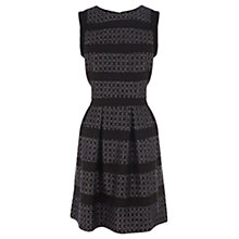 Buy Warehouse Chiffon Boucle Stripe Shift Dress, Grey Online at johnlewis.com