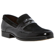 Buy Bertie After Eight Leather and Suede Penny Loafers, Patent Black Online at johnlewis.com