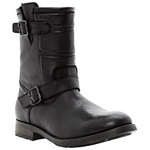 Buy Bertie Cnievel Leather Biker Boots, Black Online at johnlewis.com