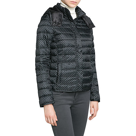 Buy Mango Printed Padded Coat, Black Online at johnlewis.com