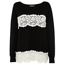 Buy Oasis Lace Striped Jumper, Multi Black Online at johnlewis.com