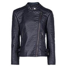 Buy Mango Quilted Appliqué Biker Jacket, Navy Online at johnlewis.com