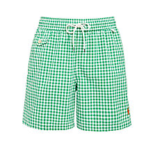 Buy Polo Ralph Lauren Gingham Swim Shorts, Green Online at johnlewis.com