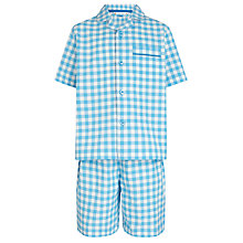 Buy John Lewis Boy Gingham Short Pyjamas, Blue/White Online at johnlewis.com