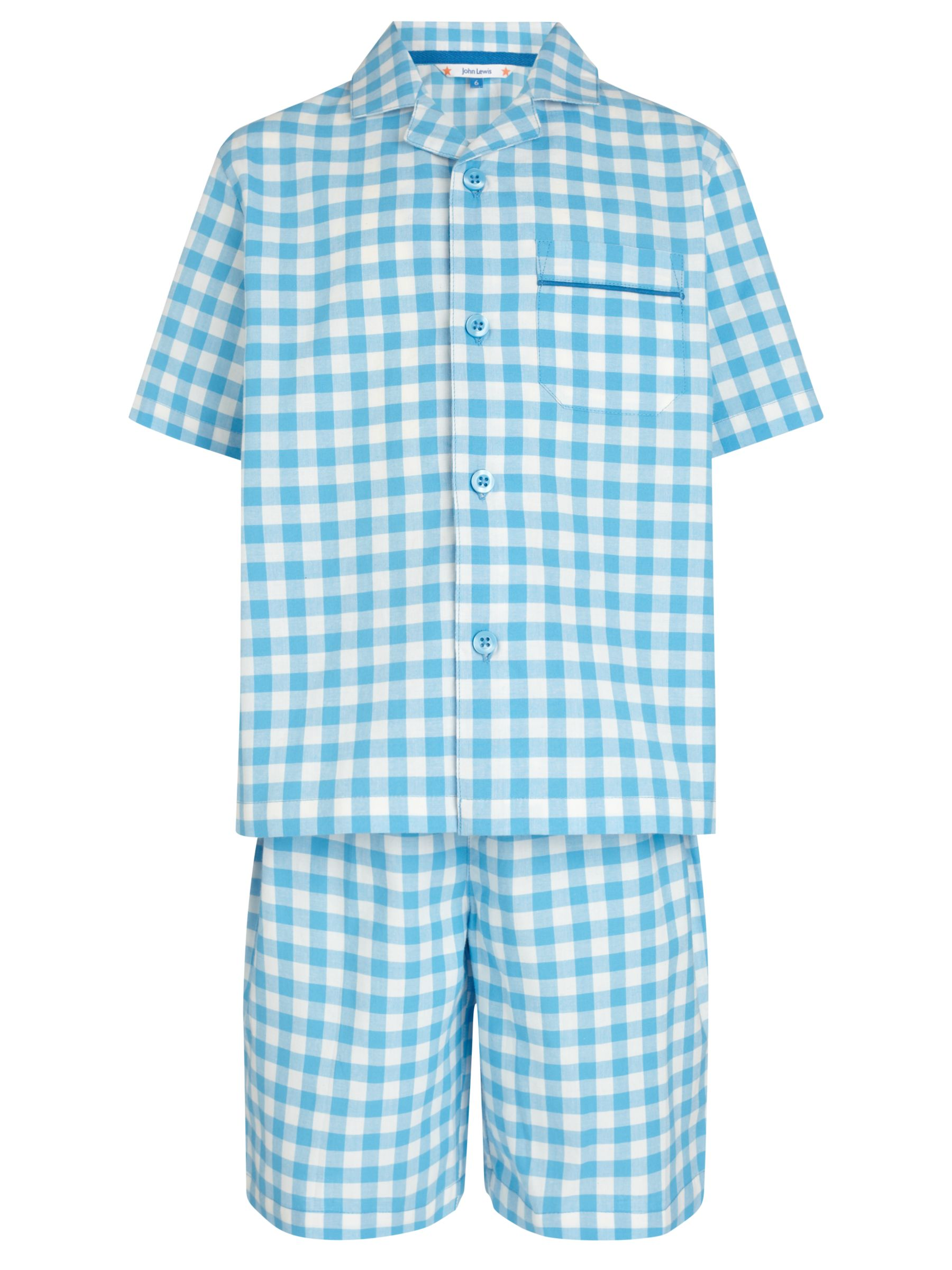 John Lewis Boy Gingham Short Pyjamas, Blue/White