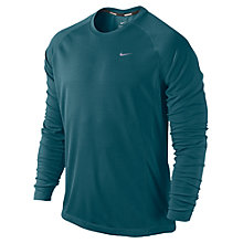 Buy Nike Miler Long Sleeve Top, Green Online at johnlewis.com