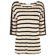 Buy Oasis Lace Stripe T-shirt, Multi Natural Online at johnlewis.com