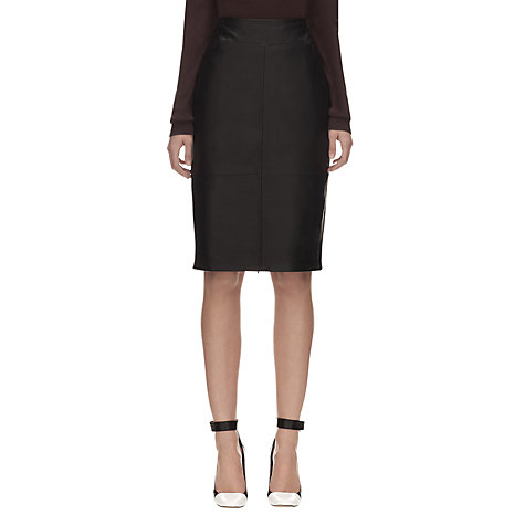 Buy Whistles Dixie Leather Pencil Skirt, Black Online at johnlewis.com