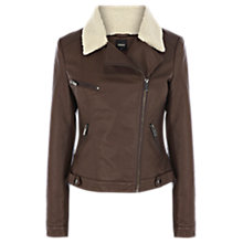 Buy Oasis Faux Leather PU Jacket, Mid Brown Online at johnlewis.com