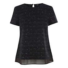 Buy Oasis Boucle Sparkle T-Shirt,  Multi Black Online at johnlewis.com