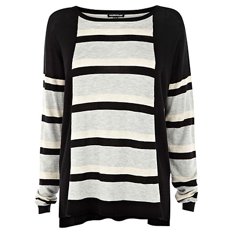 Buy Warehouse Block and Stripe Jumper, Black Online at johnlewis.com