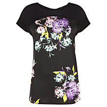 Buy Warehouse Fluro Floral Print Tee, Black Pattern Online at johnlewis.com