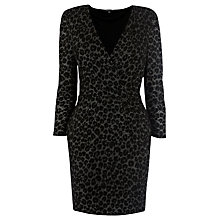 Buy Warehouse Animal Jacquard Wrap Front Dress, Silver Colour Online at johnlewis.com