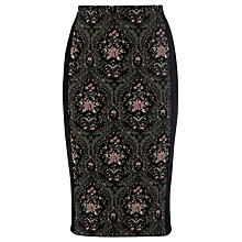 Buy Warehouse Tapestry Jacquard Skirt, Black Online at johnlewis.com