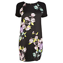 Buy Warehouse Fluro Floral Print Woven Dress, Black Online at johnlewis.com