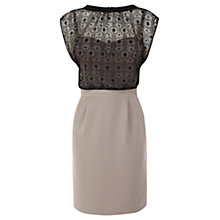 Buy Warehouse Geo Lace Insert Dress, Black Online at johnlewis.com