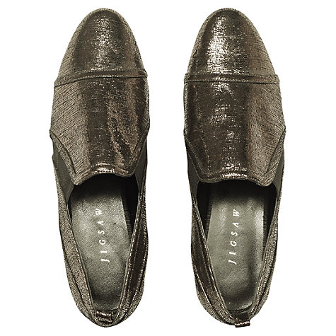 Buy Jigswaw Kensington Metallic Leather Elasticated Pumps, Anthracite Online at johnlewis.com