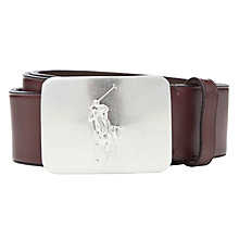 Buy Polo Ralph Lauren Logo Plaque Belt, Brown Online at johnlewis.com