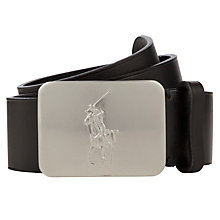 Buy Polo Ralph Lauren Logo Plaque Belt, Black Online at johnlewis.com