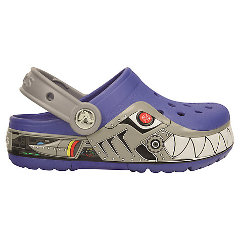 Buy Crocs Kids' Lights Robot Shark Sandals, Blue/Grey Online at johnlewis.com