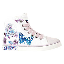 Buy Geox Ciak Butterfly Canvas Hi-Top Trainers, White/Purple Online at johnlewis.com