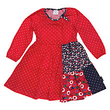 Buy Polarn O. Pyret Patchwork Spot Dress, Poppy Online at johnlewis.com