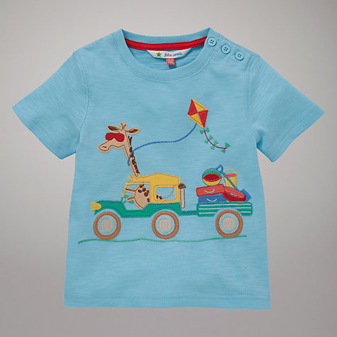 Buy John Lewis Giraffe Motif T-Shirt, Blue Online at johnlewis.com