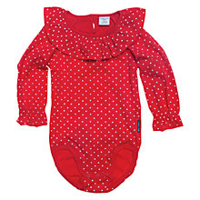 Buy Polarn O. Pyret Spots Ruffle Collar Bodysuit, Poppy Online at johnlewis.com