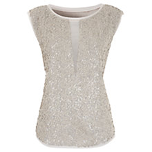 Buy Mint Velvet Sequin Top, Neutral Vanilla Online at johnlewis.com