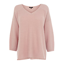 Buy Warehouse Rib V Jumper, Light Pink Online at johnlewis.com