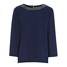 Buy Reiss Frenny Embellished Blouse, Navy Online at johnlewis.com