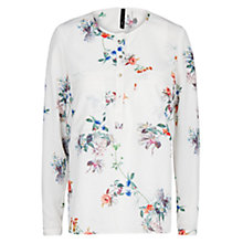 Buy Mango Floral Print Blouse, Natural White Online at johnlewis.com