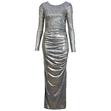 Buy Miss Selfridge Foil Drape Maxi Dress, Silver Online at johnlewis.com