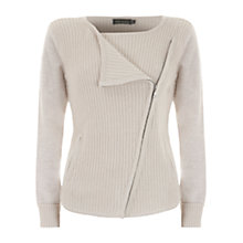 Buy Hygge by Mint Velvet Biker Cardigan, Neutral Vanilla Online at johnlewis.com
