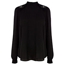 Buy Warehouse High Neck Top, Black Online at johnlewis.com