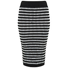 Buy Miss Selfridge Monochrome Midi Skirt, Black Online at johnlewis.com