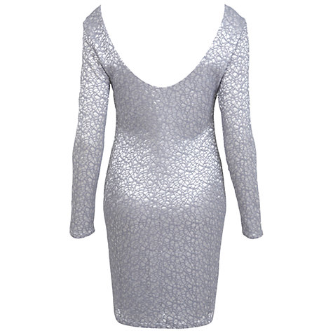 Buy Miss Selfridge Cobweb Lace Bodycon Dress, Silver Grey Online at johnlewis.com
