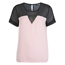 Buy Miss Selfridge Chiffon Yoke T-Shirt, Pink Online at johnlewis.com