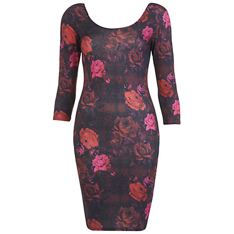 Buy Miss Selfridge Rose Print Checked Dress, Purple Online at johnlewis.com