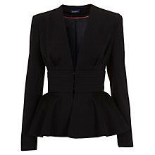 Buy Miss Selfridge Nipped In Peplum Jacket, Black Online at johnlewis.com